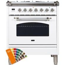 See Details - Nostalgie 30 Inch Dual Fuel Natural Gas Freestanding Range in Custom RAL Color with Chrome Trim