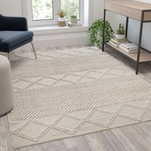See Details - 5' x 7' Ivory & White Geometric Design Handwoven Area Rug - Wool\/Polyester\/Cotton Blend