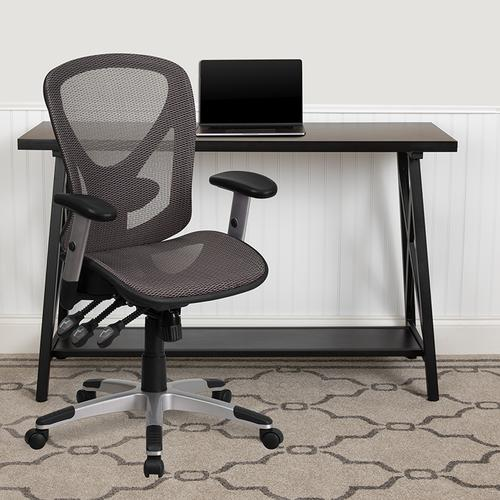 Gallery - Mid-Back Transparent Gray Mesh Multifunction Executive Swivel Ergonomic Office Chair with Adjustable Arms