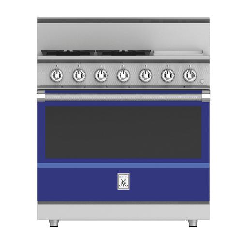 """Hestan - 36"""" 4-Burner All Gas Range with 12"""" Griddle - KRG Series - Prince"""