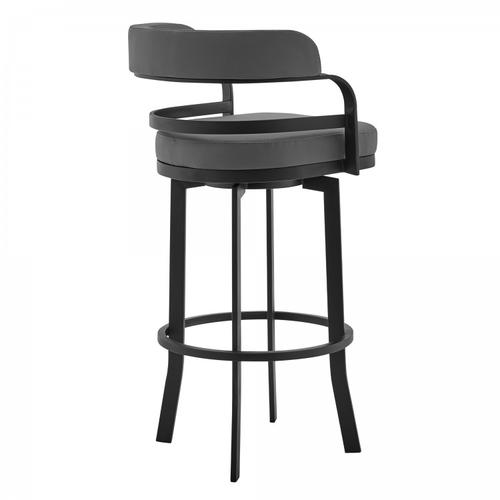 """Armen Living - Prinz 30"""" Bar Height Swivel Stool with Matte Black Finish and Grey Faux Leather"""