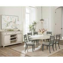 Bella Grigio - Round Dining Table Top - Chipped White Finish