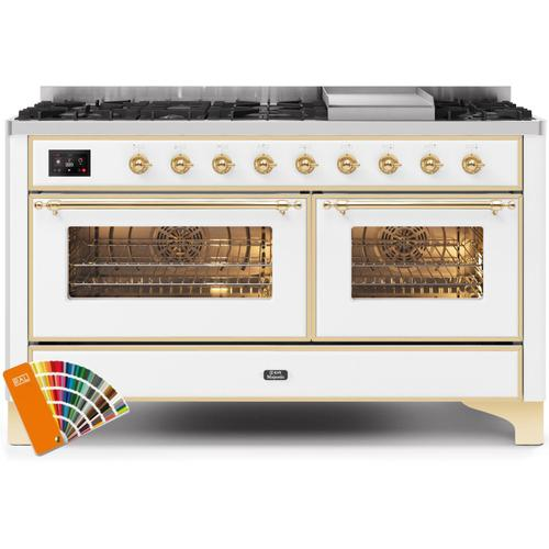 Gallery - Majestic II 60 Inch Dual Fuel Natural Gas Freestanding Range in Custom RAL Color with Brass Trim