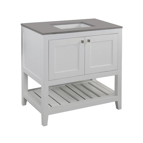 Free standing under-counter vanity with two doors(knobs included) and slotted shelf in wood. Under-mount sink 5452UN, stone countertop H283T are not included.