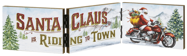 Accordion Plaque - 3 Panels - Santa Claus is Riding to Town