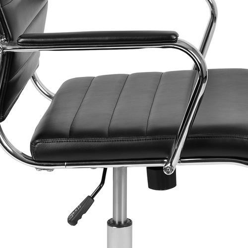 Gallery - High Back Black LeatherSoft Contemporary Ribbed Executive Swivel Office Chair