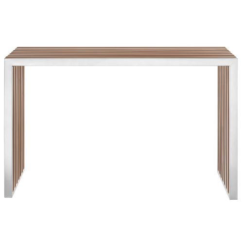 Modway - Gridiron Wood Inlay Console Table in Walnut