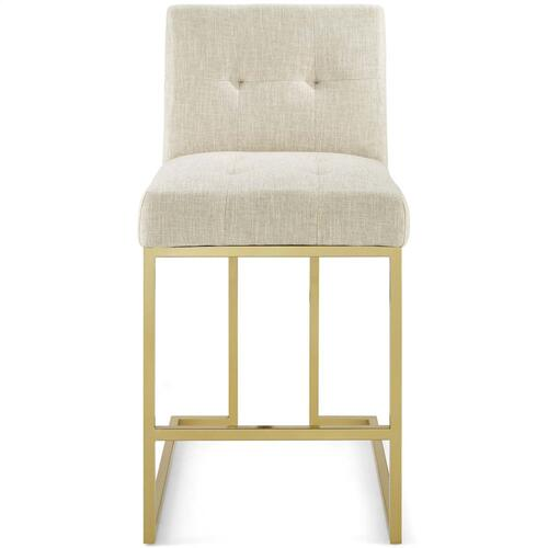 Privy Gold Stainless Steel Upholstered Fabric Counter Stool in Gold Beige