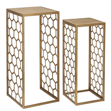 Gold Honeycomb Nested Side Table (2 pc. set)
