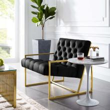 Bequest Gold Stainless Steel Performance Velvet Accent Chair in Black