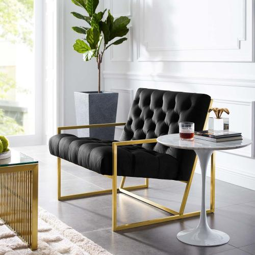 Modway - Bequest Gold Stainless Steel Performance Velvet Accent Chair in Black