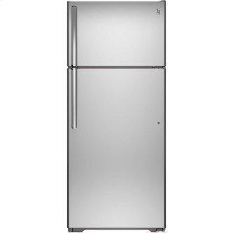 GE™ Energy Star 18 Cu. Ft. Top-Freezer Refrigerator Stainless Steel - GTE18FSLKSS