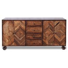 Product Image - CORBY SIDEBOARD  Reclaimed Walnut Finish on Mango Wood with Iron Frame on Casters  4 Door 4 Drawer