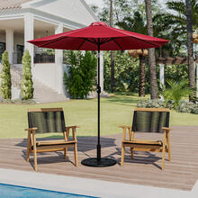 Red 9 FT Round Umbrella with Crank and Tilt Function and Standing Umbrella Base