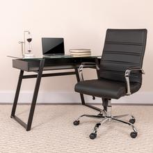 View Product - High Back Black LeatherSoft Executive Swivel Office Chair with Chrome Frame and Arms