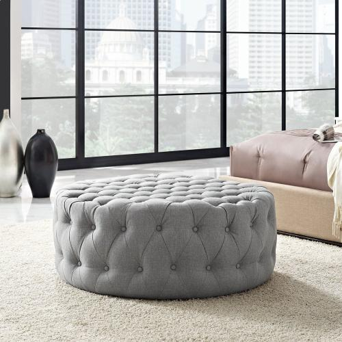 Amour Upholstered Fabric Ottoman in Light Gray