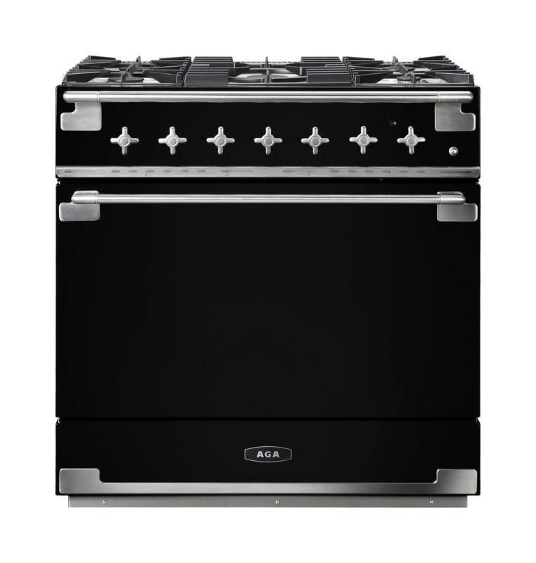 AGAAga Elise 36 Dual Fuel Matte Black With Chrome Trim