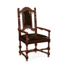 Elizabethan style dark oak armchair with medium English library green leather