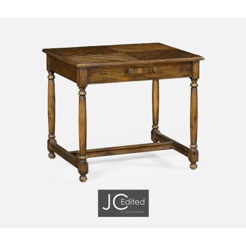 Country Walnut Rectangular Side Table with Contrast Inlay