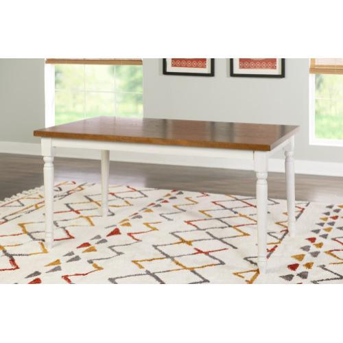 Rectangular Dining Table, Vanilla White and Honey Brown