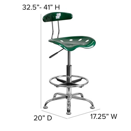 Flash Furniture - Vibrant Green and Chrome Drafting Stool with Tractor Seat