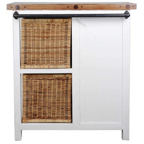 Basket Cabinet - Whitewashed