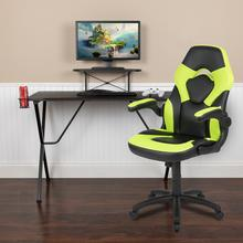 Black Gaming Desk and Green/Black Racing Chair Set with Cup Holder, Headphone Hook, and Monitor/Smartphone Stand