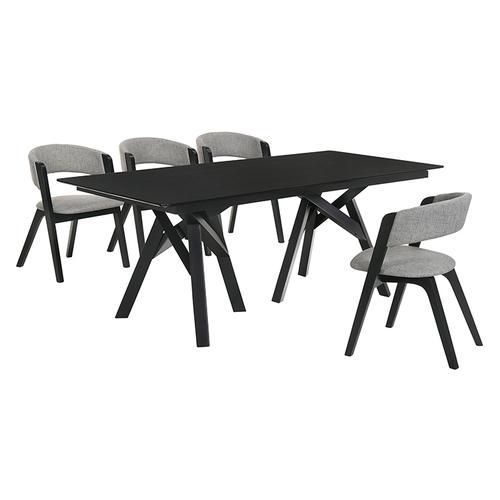 Cortina and Rowan 5 Piece Black Rectangular Dining Set