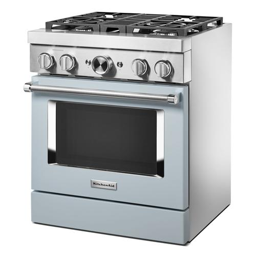 KitchenAid® 30'' Smart Commercial-Style Dual Fuel Range with 4 Burners - Misty Blue