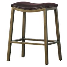 Elmo KD Bonded Leather Metal Counter Stool, Brown