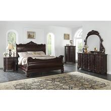 Saillans Cherry Finish Solid Wood Construction Bedroom Set, Queen Bed, Dresser and Mirror,2 Nightstands, King