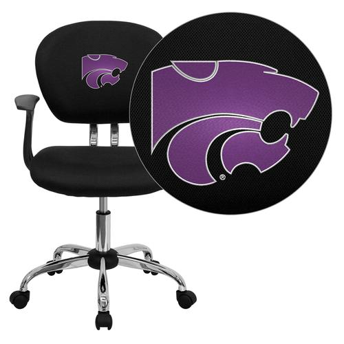 Kansas State University Wildcats Embroidered Black Mesh Task Chair with Arms and Chrome Base