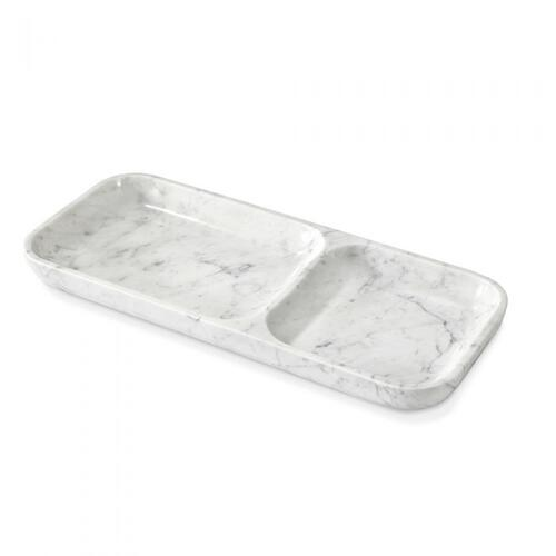 Alia Dual Section Tray - Carrara White