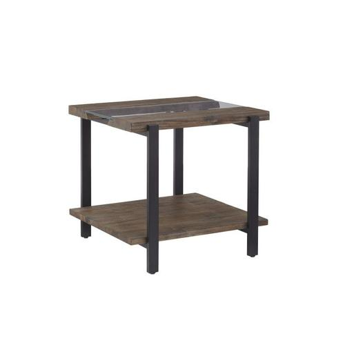 Dumont End Table, Brown Mahogany Finish with Black Metal Base