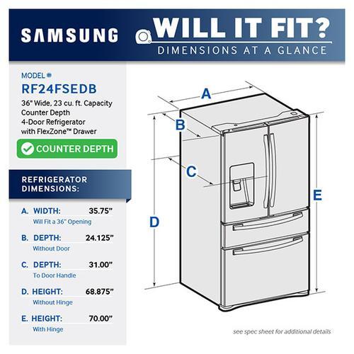 "Open Box 36"" Wide, 23 cu. ft. Counter Depth 4-Door Refrigerator with FlexZone Drawer (Stainless Steel)"