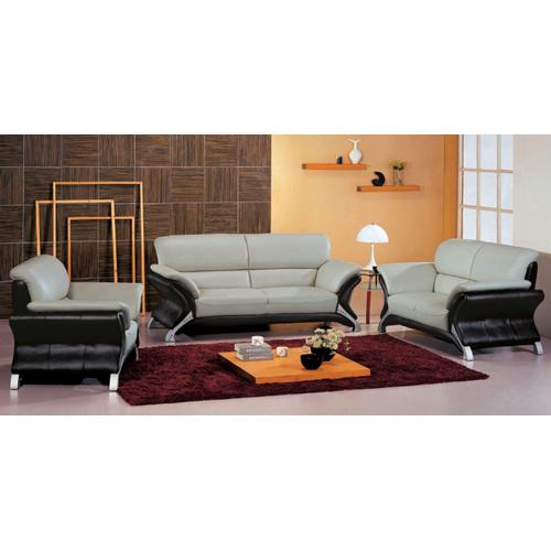 7030 Contemporary Leather Grey and Black Living Room Set