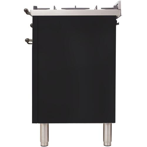 Nostalgie 36 Inch Dual Fuel Liquid Propane Freestanding Range in Glossy Black with Bronze Trim
