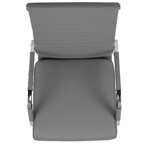 High Back Gray LeatherSoft Mid-Century Modern Ribbed Swivel Office Chair with Spring-Tilt Control and Arm Wraps