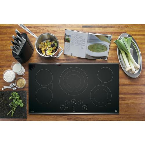 "GE Profile 36"" Electric Smoothtop Cooktop Stainless Steel PP9036SJSS"