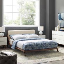 Luella Queen Upholstered Fabric Platform Bed in Walnut Beige