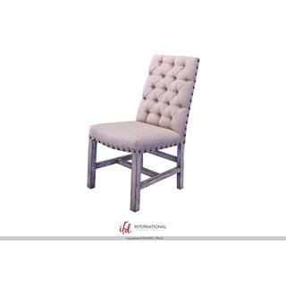 See Details - Upholstered Chair with tufted back - 100% Polyester with a linen appearance