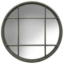 Grey Round Window Pane Mirror  32in X 32in X 1in  Framed Wall Mirror