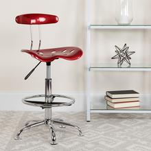 View Product - Vibrant Wine Red and Chrome Drafting Stool with Tractor Seat