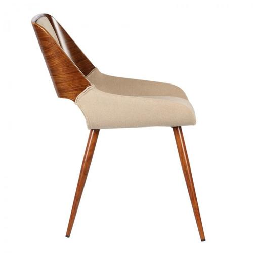 Armen Living Panda Mid-Century Dining Chair in Walnut Wood and Brown Fabric