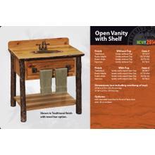 Hickory Open Vanity with Shelf