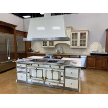 SHOWROOM ROTATION SPECIAL -  La Cornue Chateau 150 Range with Matching Island Hood and TPC and TGC Cabinets with Custom Continuous Stainless Steel Countertop - Antique White with Brass & SS Trim -Showroom Demo Unit - Model CH5USK9 Serial 120856   Hood H17C0