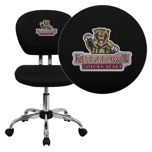 Kutztown University Golden Bears Embroidered Black Mesh Task Chair with Chrome Base