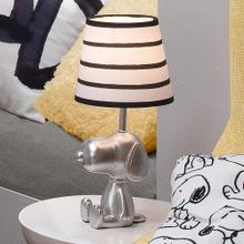 Classic Snoopy Silver Lamp with Black/White Shade & Bulb