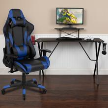 See Details - Black Gaming Desk and Blue Reclining Gaming Chair Set with Cup Holder, Headphone Hook, and Monitor\/Smartphone Stand