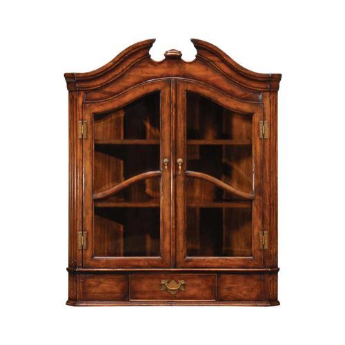Queen Anne style hanging walnut corner cabinet